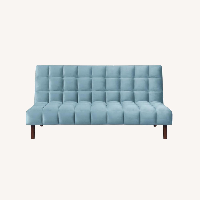 Sofa Bed In Teal Velvet W/ Walnut Finish Legs - image-10
