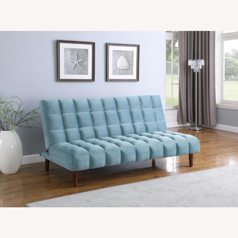 Sofa Bed In Teal Velvet W/ Walnut Finish Legs - image-7
