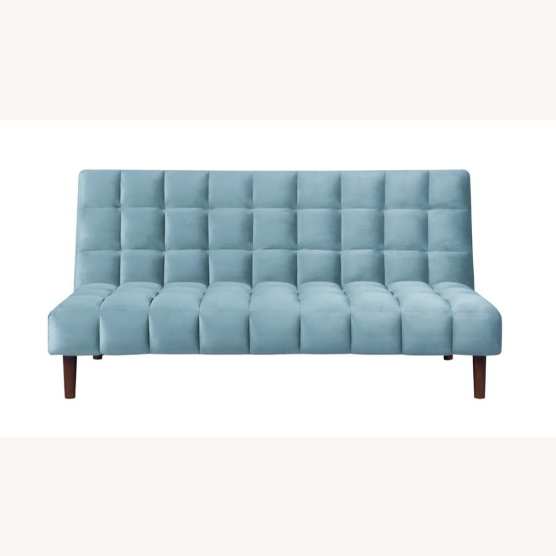 Sofa Bed In Teal Velvet W/ Walnut Finish Legs - image-2