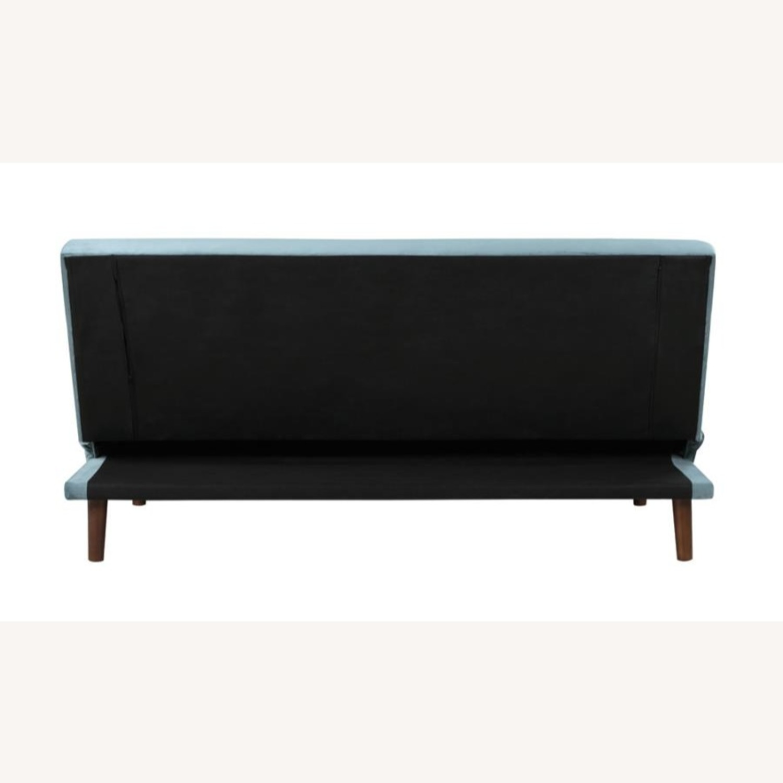 Sofa Bed In Teal Velvet W/ Walnut Finish Legs - image-5
