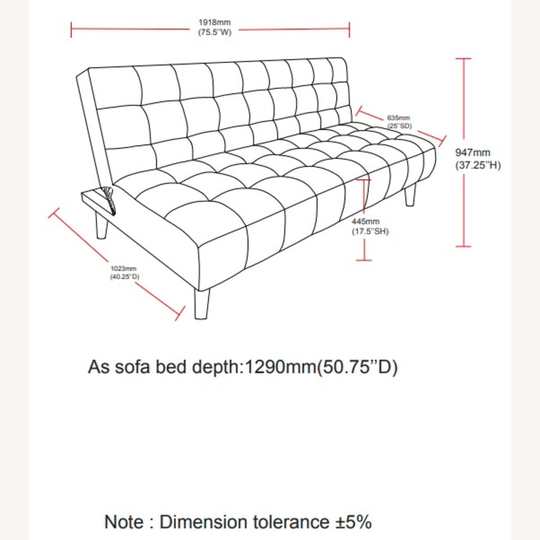 Sofa Bed In Teal Velvet W/ Walnut Finish Legs - image-9