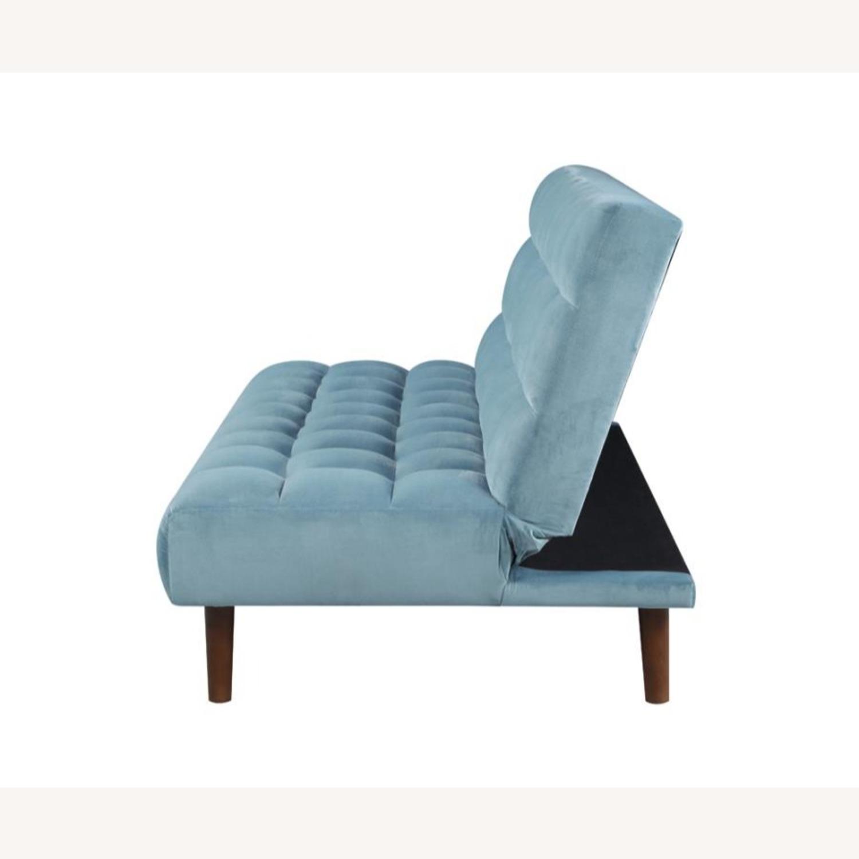 Sofa Bed In Teal Velvet W/ Walnut Finish Legs - image-3