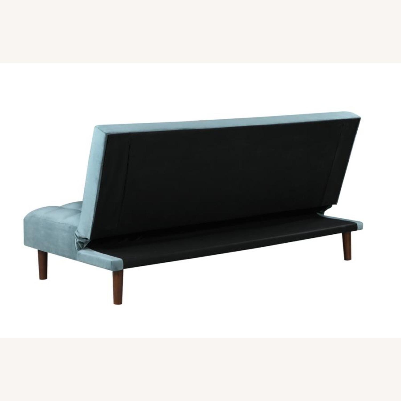 Sofa Bed In Teal Velvet W/ Walnut Finish Legs - image-4