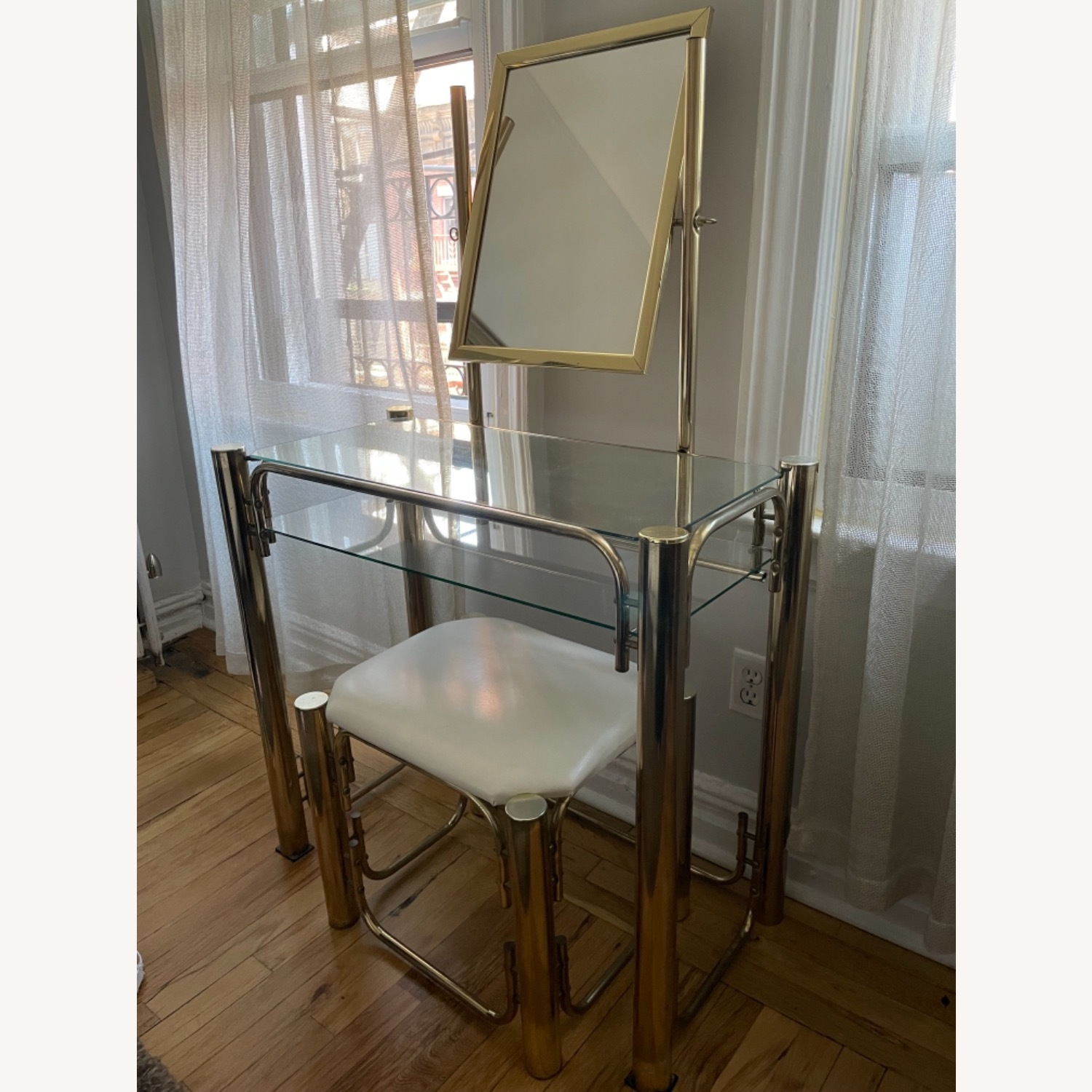 Vintage Vanity Table and Matching Stool - image-2