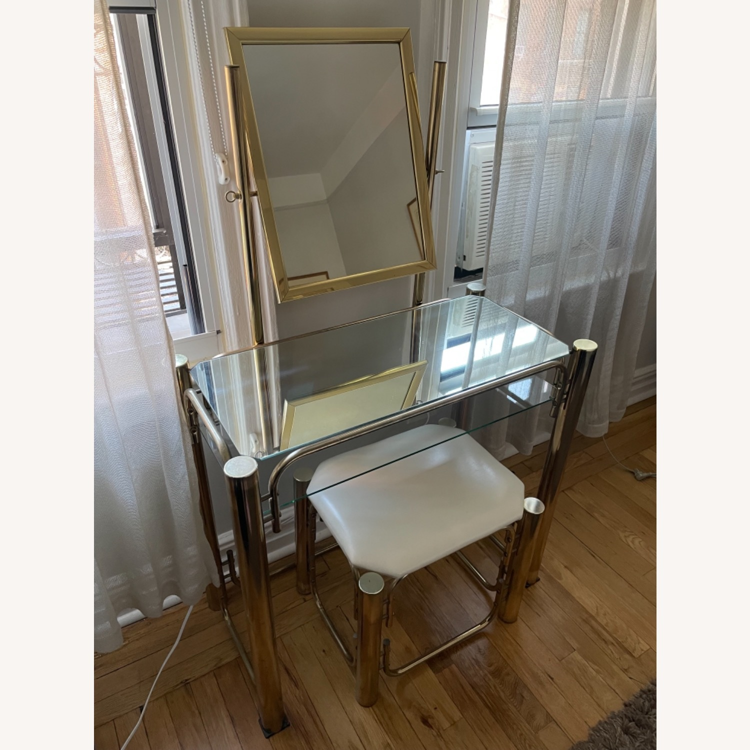 Vintage Vanity Table and Matching Stool - image-3
