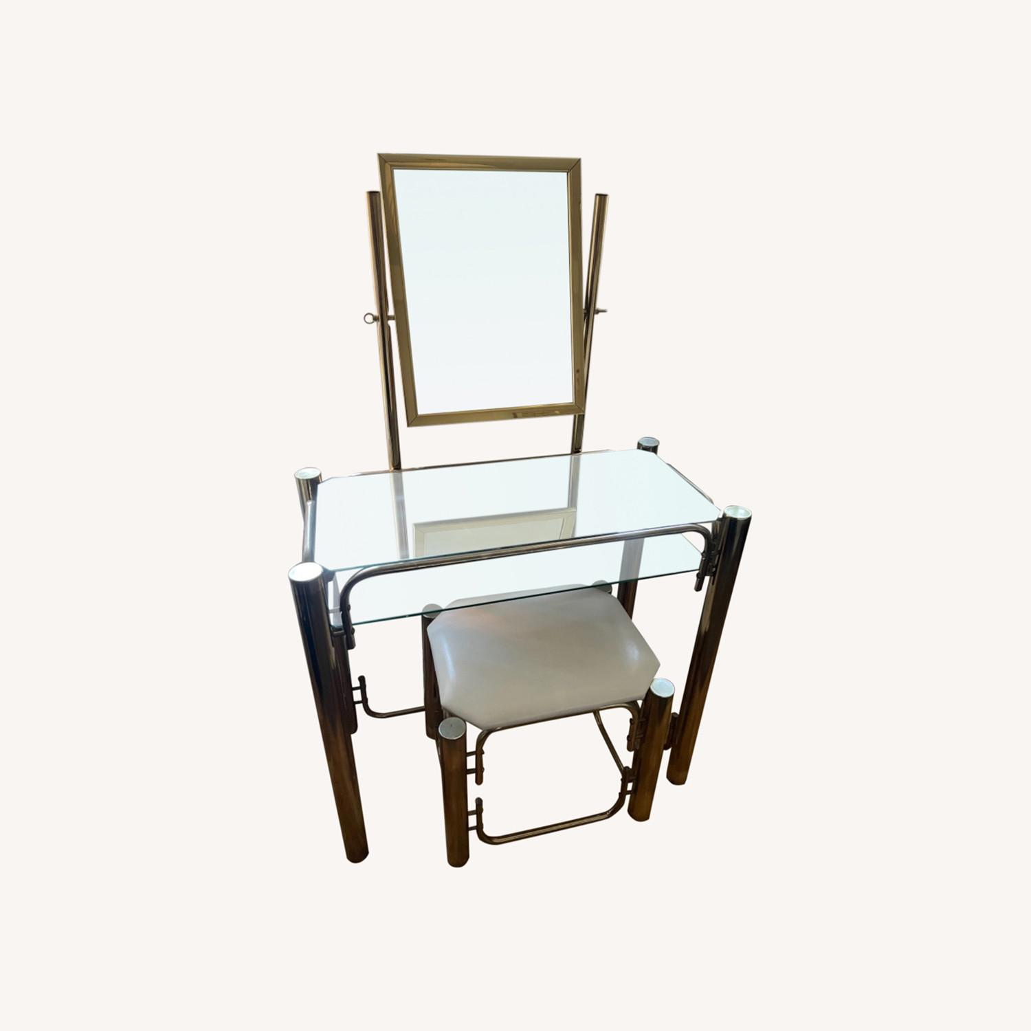 Vintage Vanity Table and Matching Stool - image-0