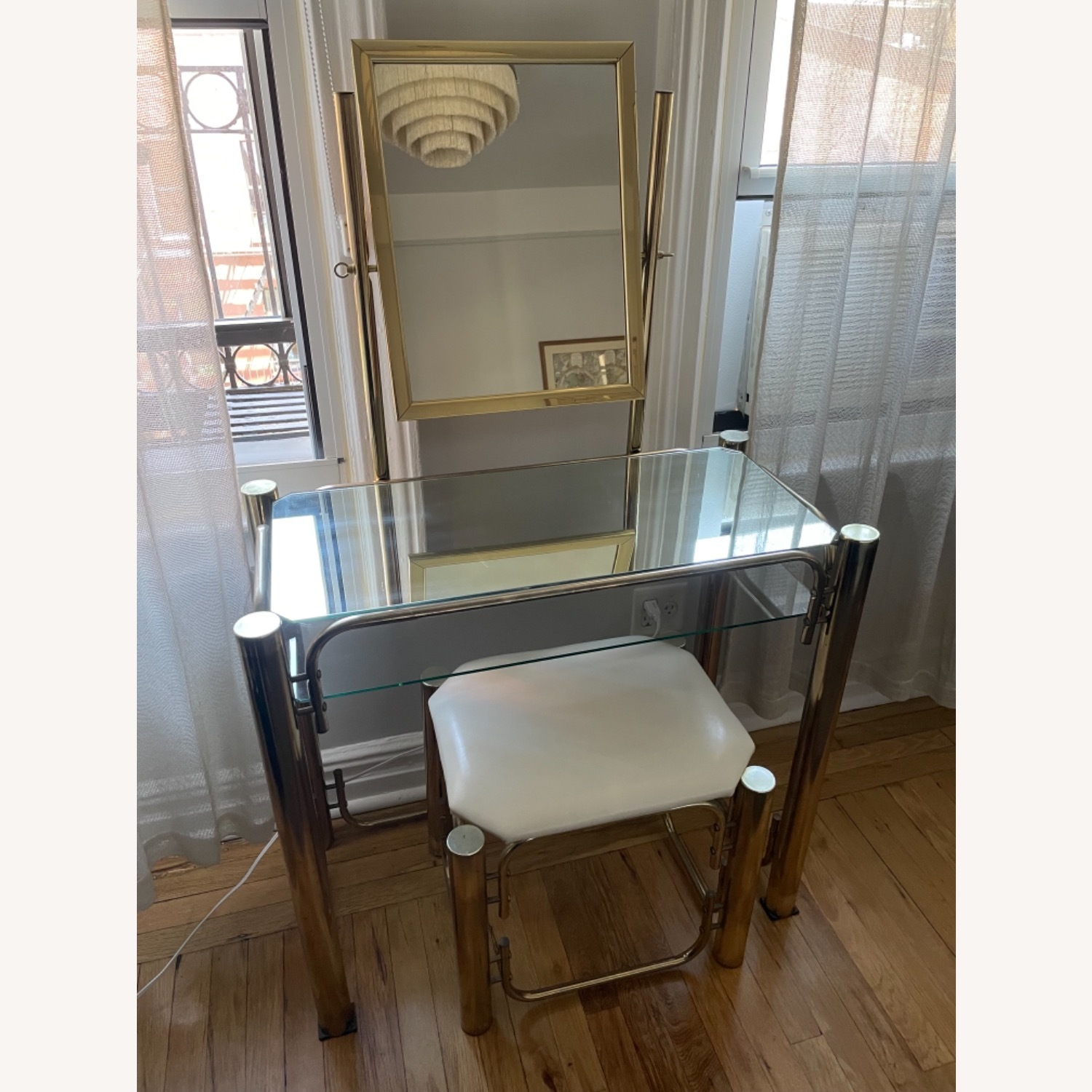 Vintage Vanity Table and Matching Stool - image-1