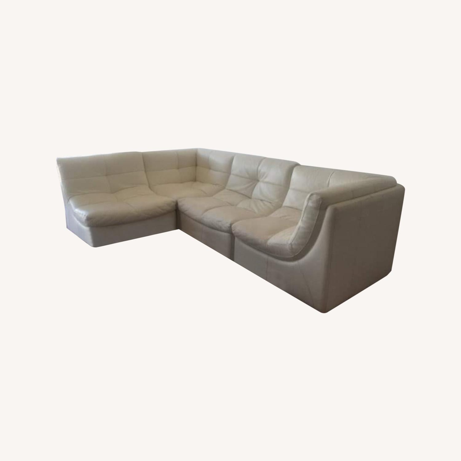 Zgallerie White Leather Sectional Sofa - image-0