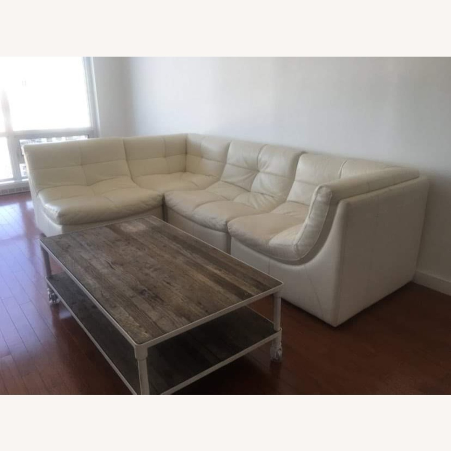 Zgallerie White Leather Sectional Sofa - image-1
