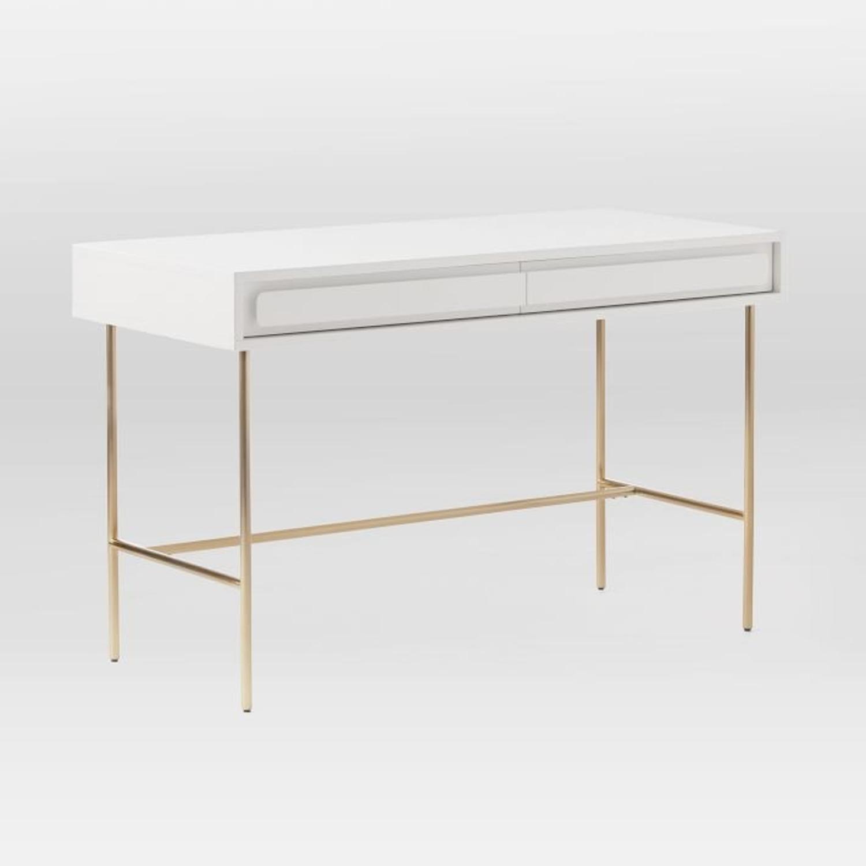 West Elm Gemini Desk, White Lacquer - image-3