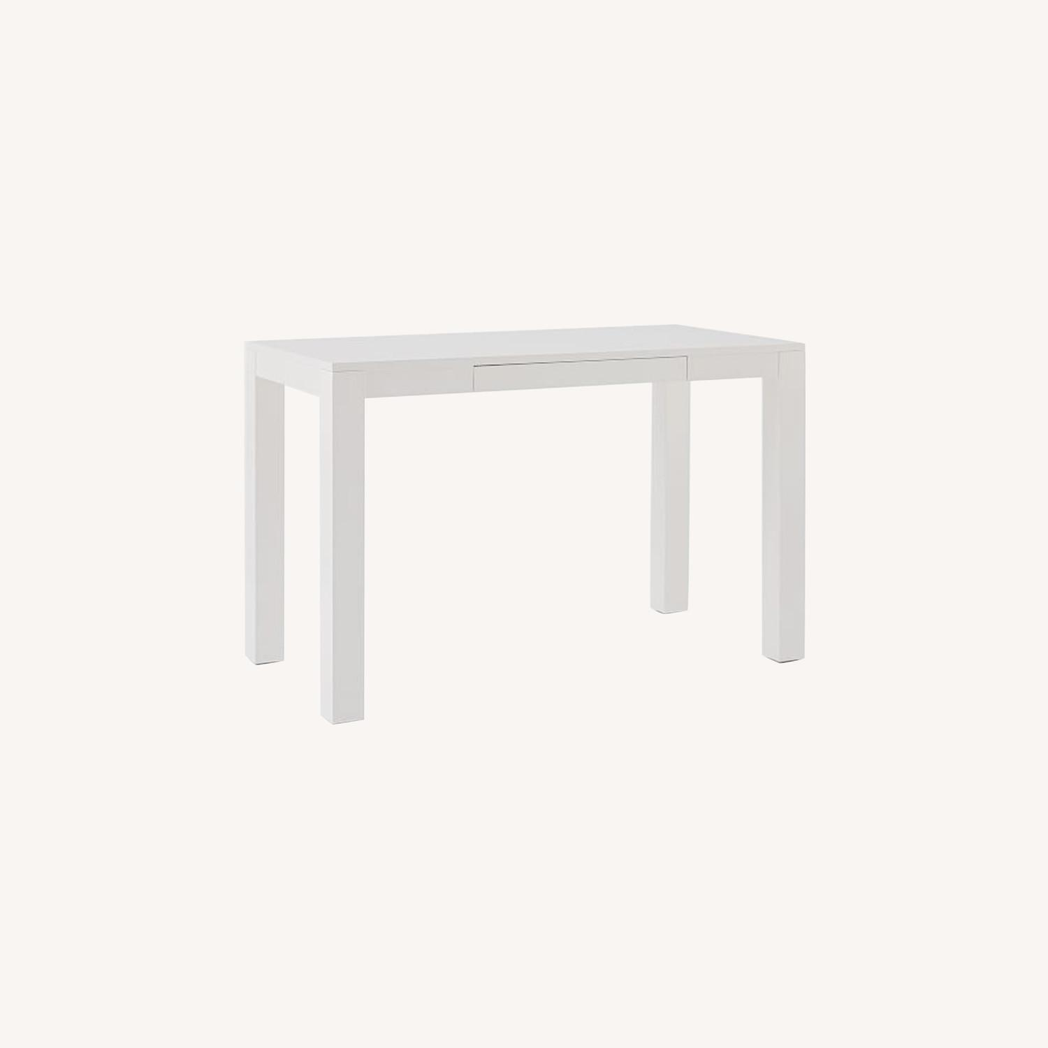 West Elm Parsons Desk With Drawers, White - image-0