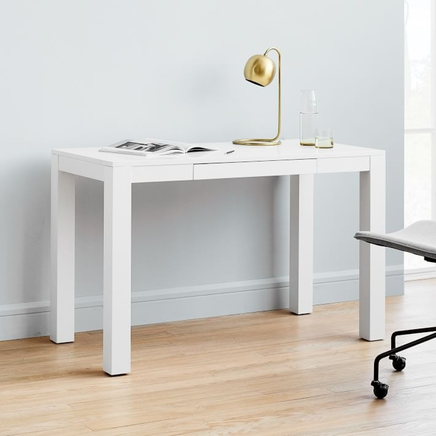 West Elm Parsons Desk With Drawers, White - image-3