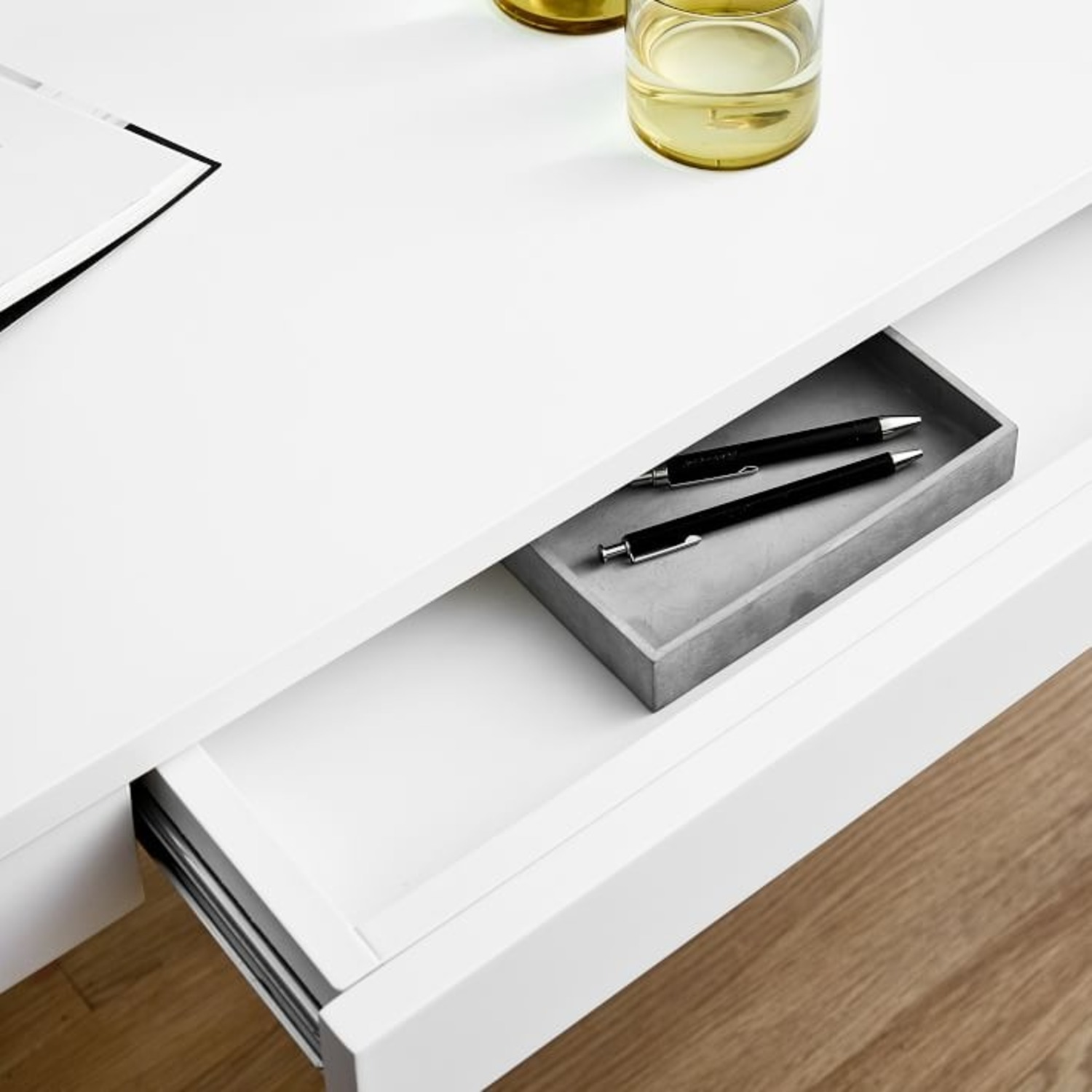 West Elm Parsons Desk With Drawers, White - image-2