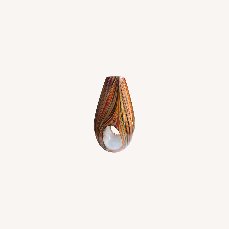 Missoni Modern Optical Striped Blown Glass Vase - image-0