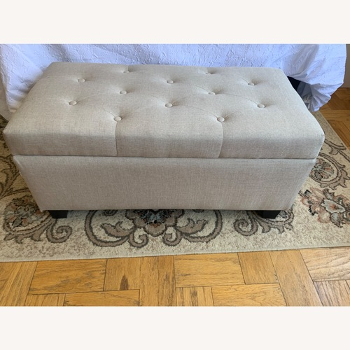 Used Tufted Beige Storage Ottoman/ Bench for sale on AptDeco