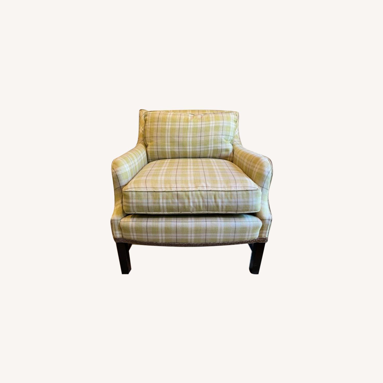Robert Allen Plaid Club Chairs with raffia trim - image-0
