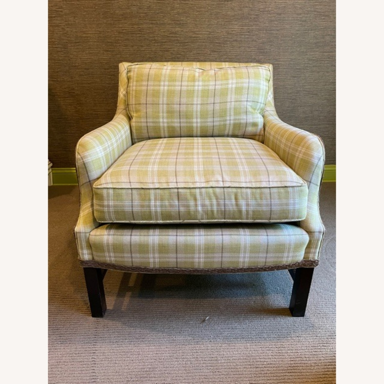 Robert Allen Plaid Club Chairs with raffia trim - image-1