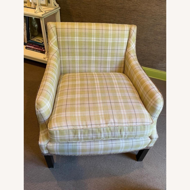 Robert Allen Plaid Club Chairs with raffia trim - image-10