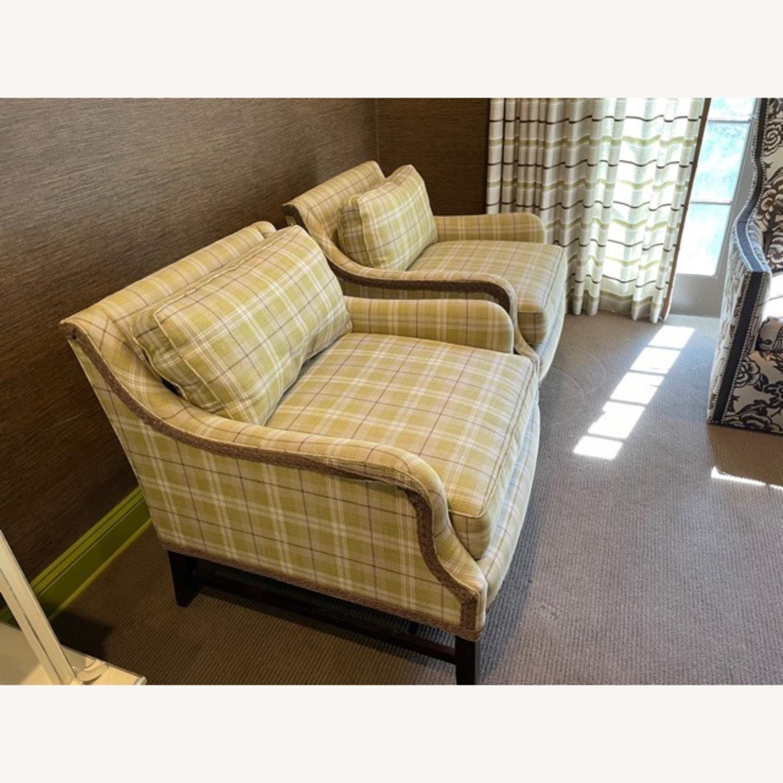 Robert Allen Plaid Club Chairs with raffia trim - image-2