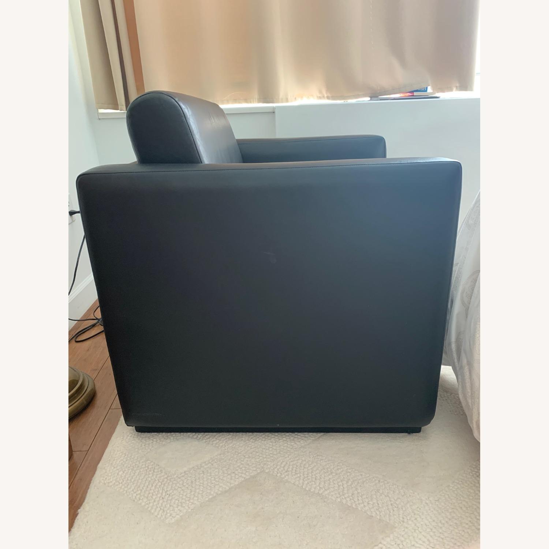 Black Faux Leather Cube Armchair - image-2