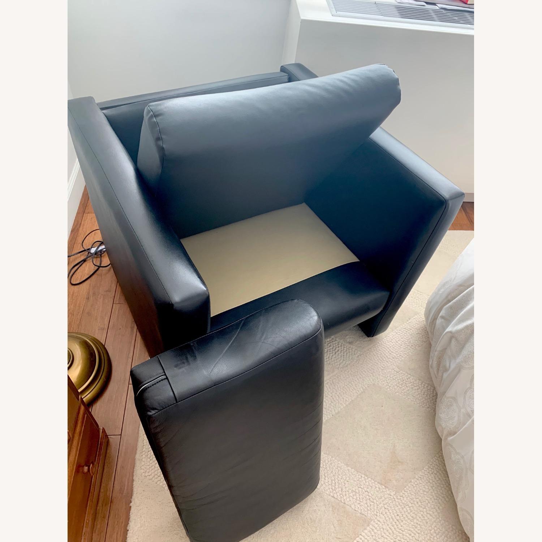Black Faux Leather Cube Armchair - image-5