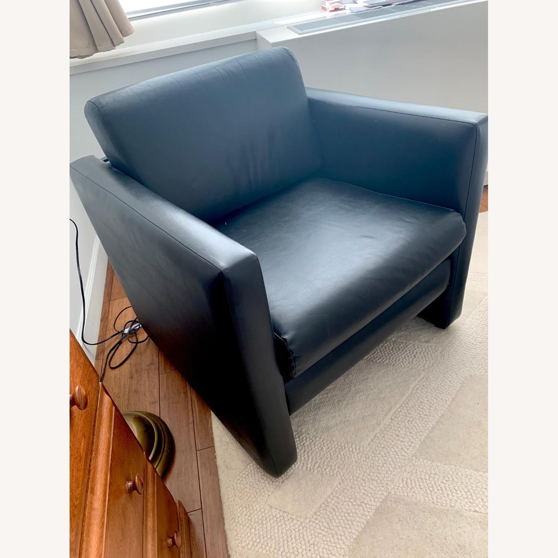 Black Faux Leather Cube Armchair - image-3