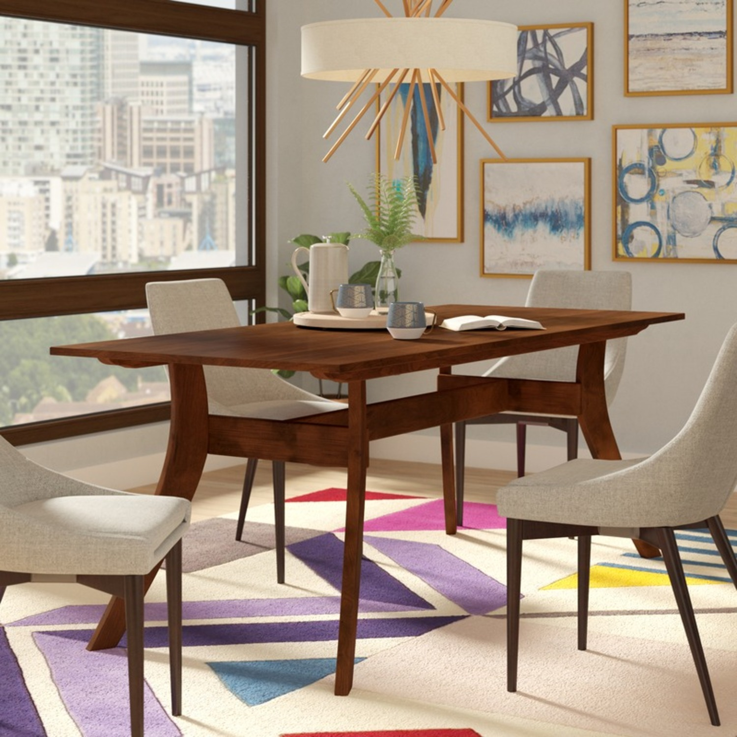 """Wayfair 63"""" Transitional Solid Wood Dining Table - image-4"""