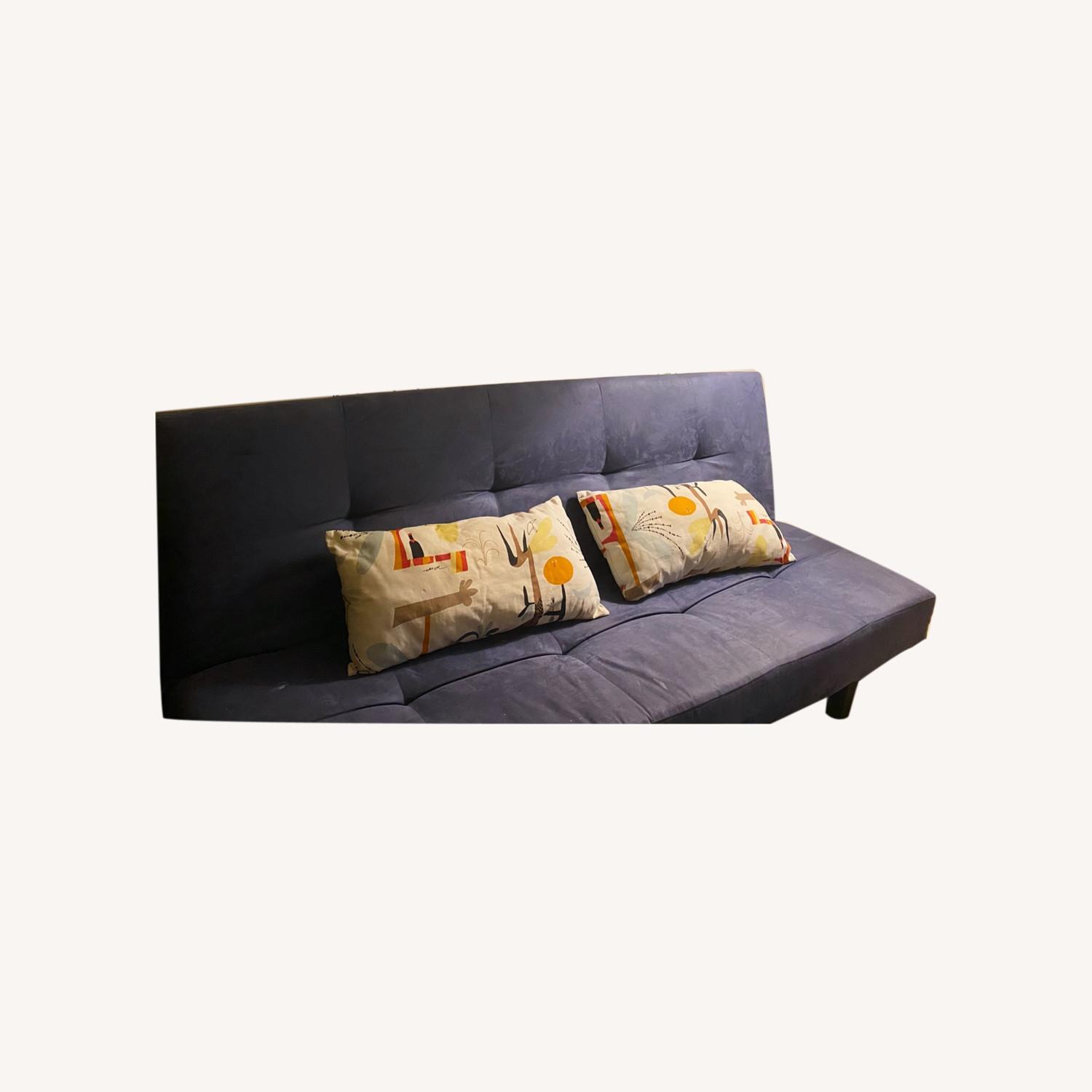 Modern Sofa Bed Convertible Couch Navy Blue - image-0