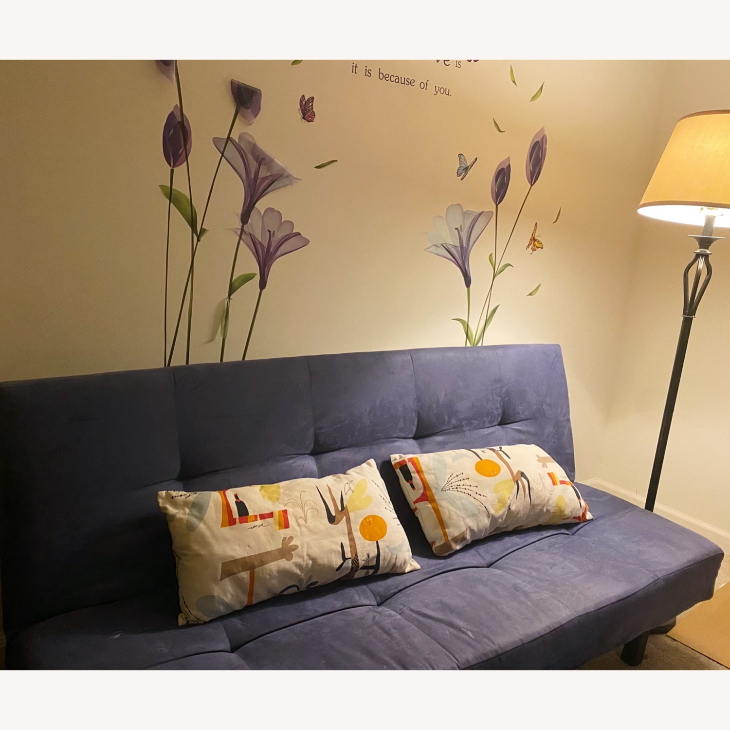 Modern Sofa Bed Convertible Couch Navy Blue - image-1