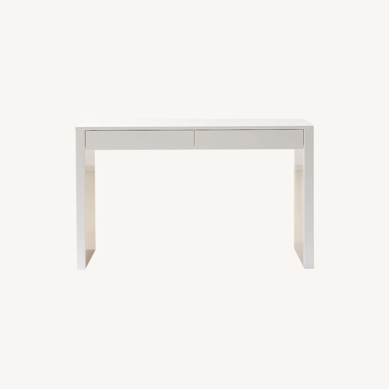 IKEA White Waterfall Desk Console Table w Drawers - image-0