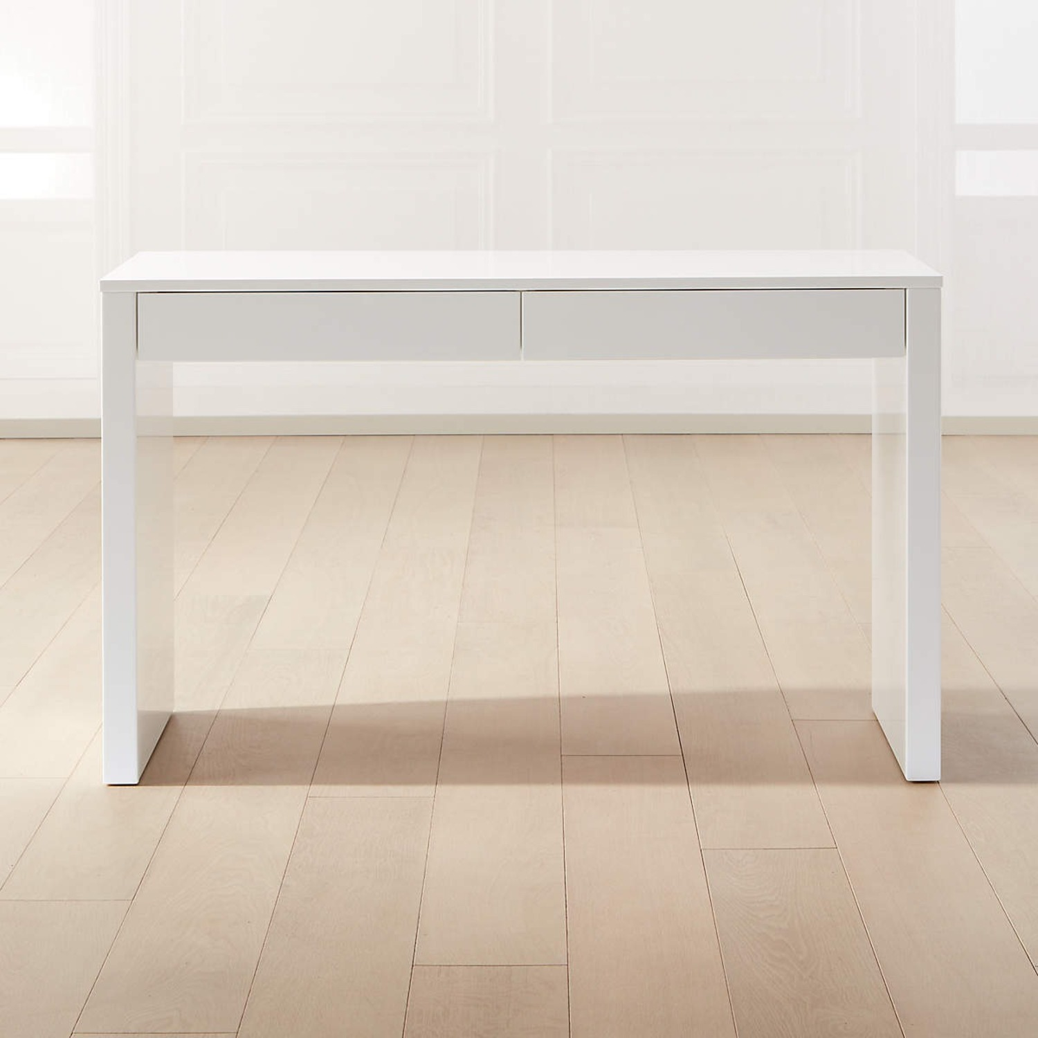 IKEA White Waterfall Desk Console Table w Drawers - image-2