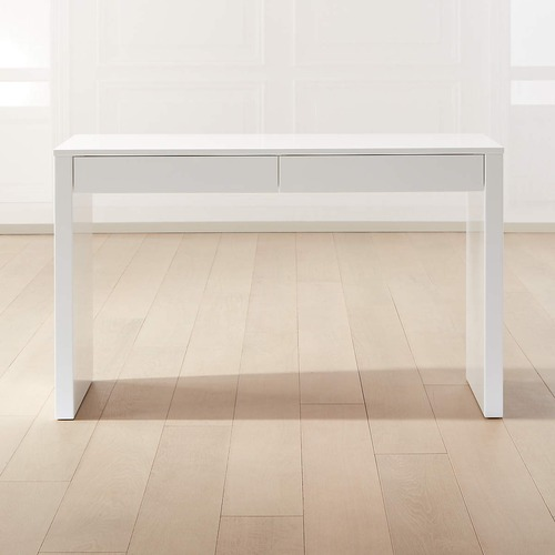 Used IKEA White Waterfall Desk Console Table w Drawers for sale on AptDeco