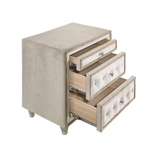Used Nightstand In Ivory & Camel Velvet Finish for sale on AptDeco