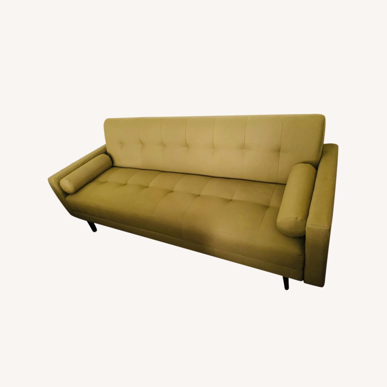 Anthropologie Green Olive Sleeper Sofa - image-0