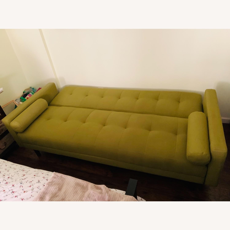 Anthropologie Green Olive Sleeper Sofa - image-3