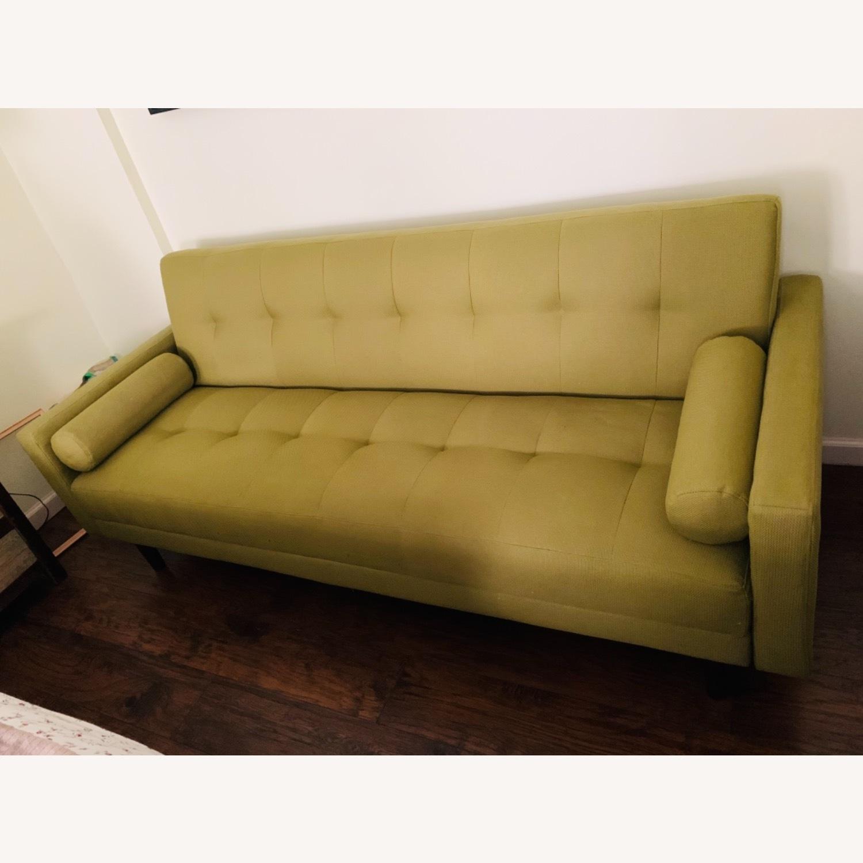 Anthropologie Green Olive Sleeper Sofa - image-1