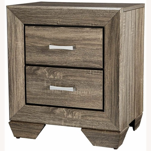 Used Nightstand In Washed Taupe Wood Finish for sale on AptDeco