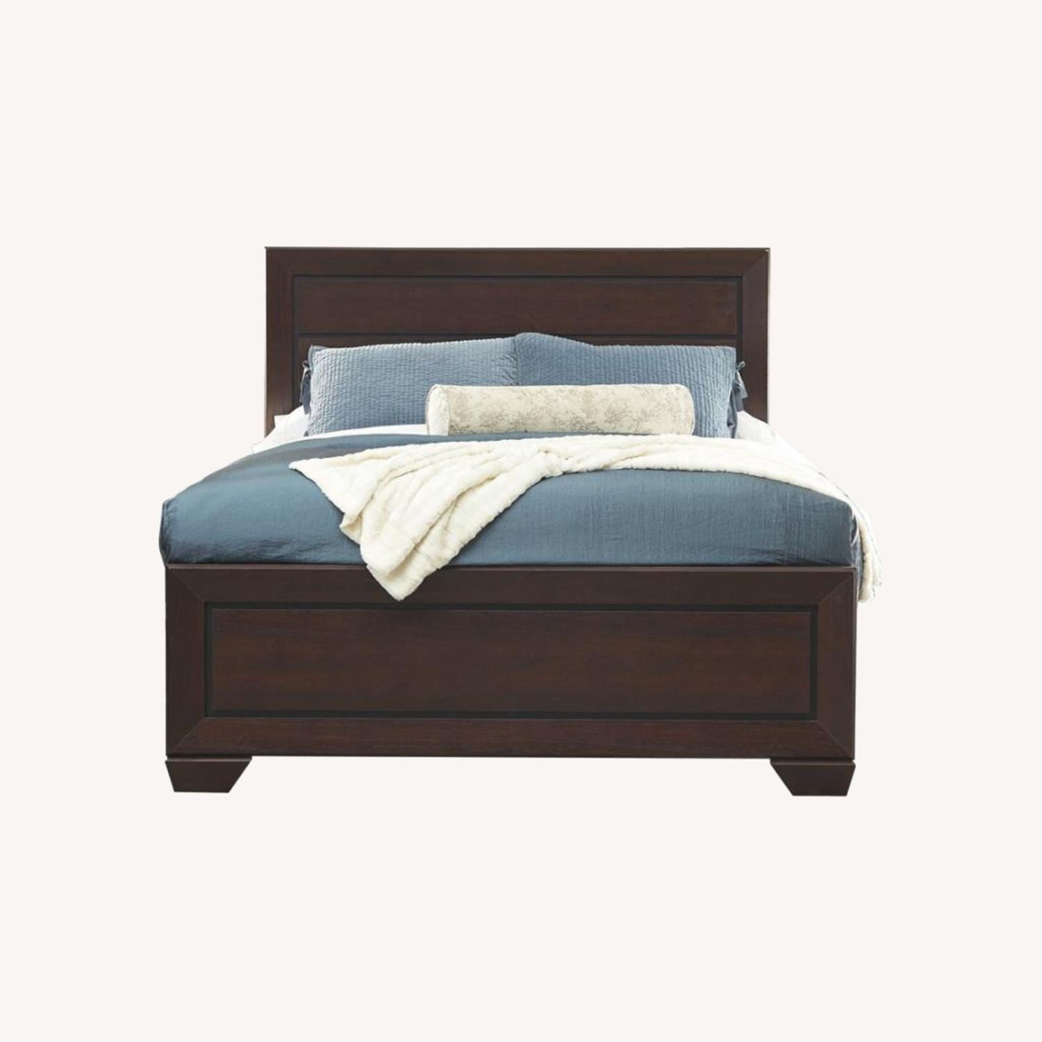 King Bed In Dark Cocoa Wood Finish - image-5