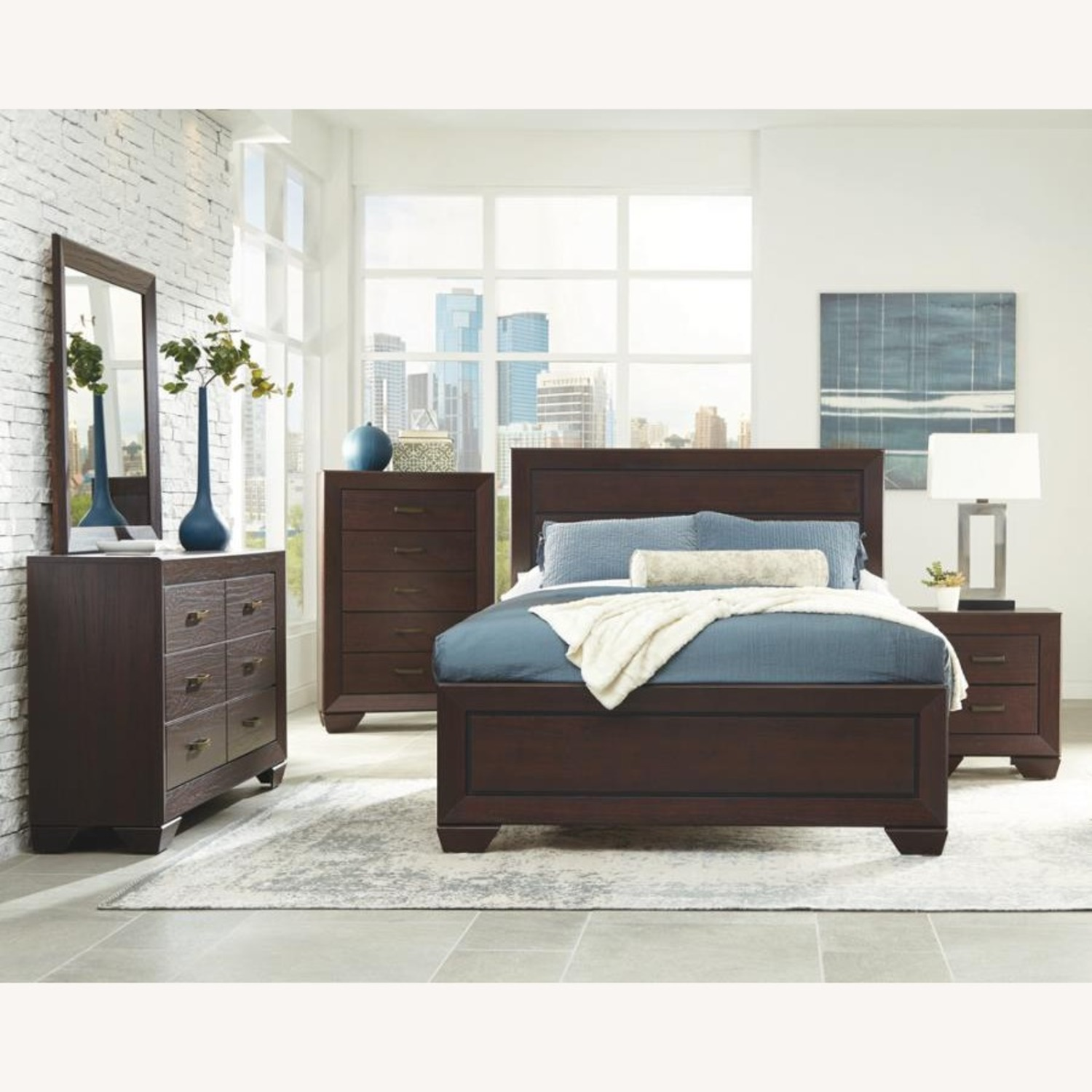 King Bed In Dark Cocoa Wood Finish - image-3