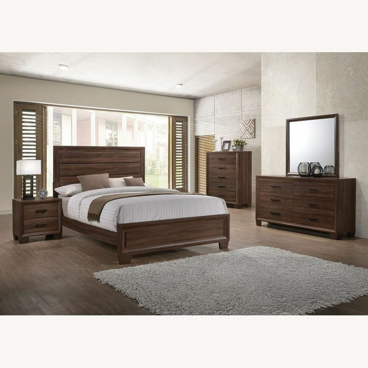 King Bed In Medium Warm Brown Wood Finish - image-3