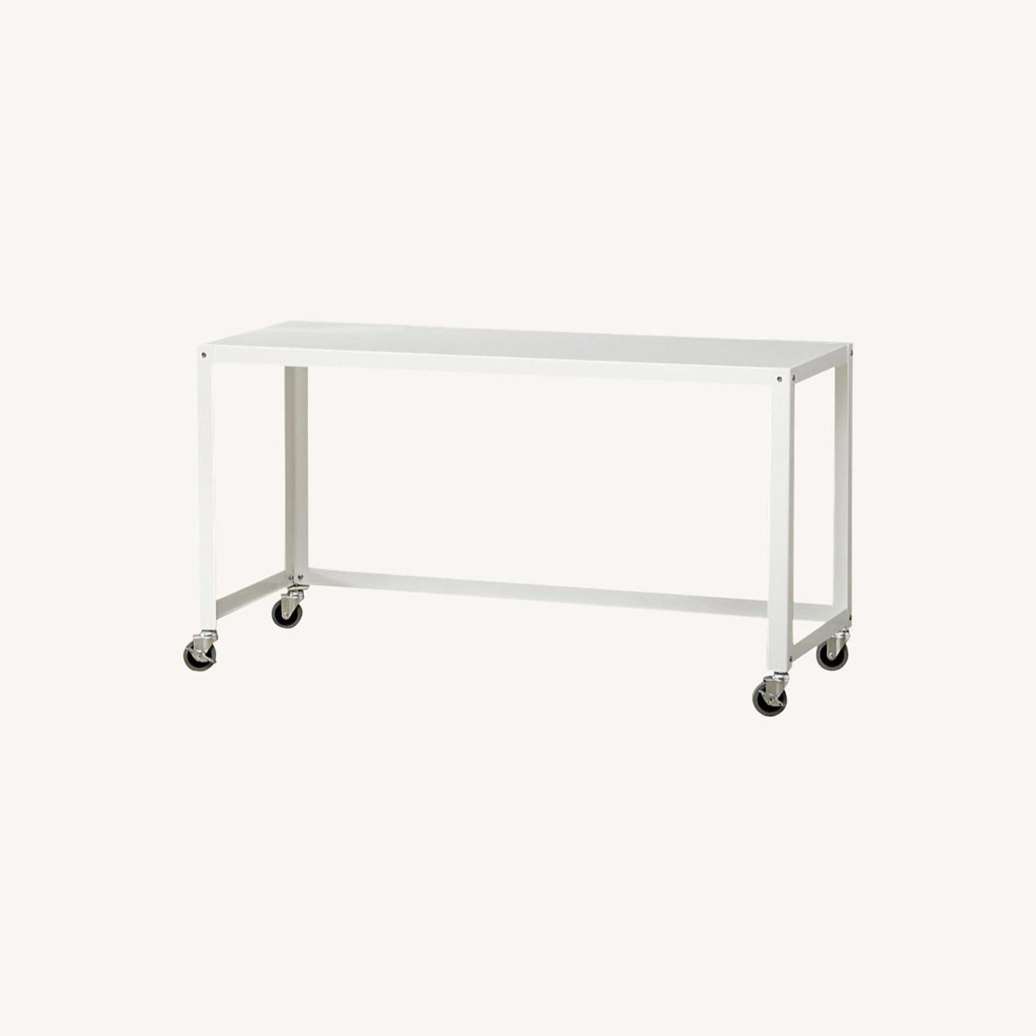 CB2 Go Cart Metal Rolling Desk  with Filing Cabinet - image-0