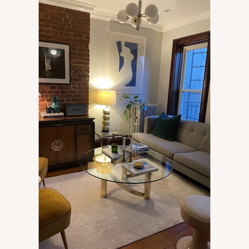 Used Vintage Glass Coffee Table Milo Baughman Style for sale on AptDeco