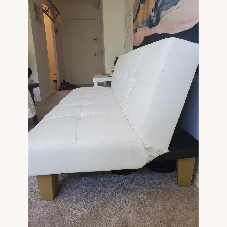 Wayfair White Faux Leather Futon - image-3