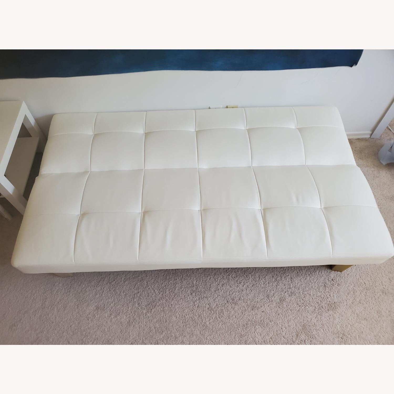 Wayfair White Faux Leather Futon - image-2