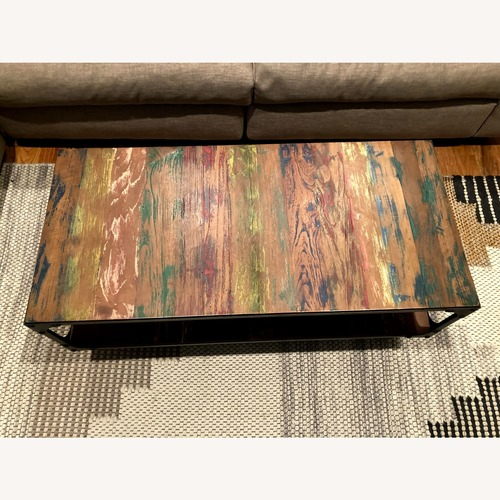 Used Unique Designer Industrial Coffee Table on Wheels for sale on AptDeco