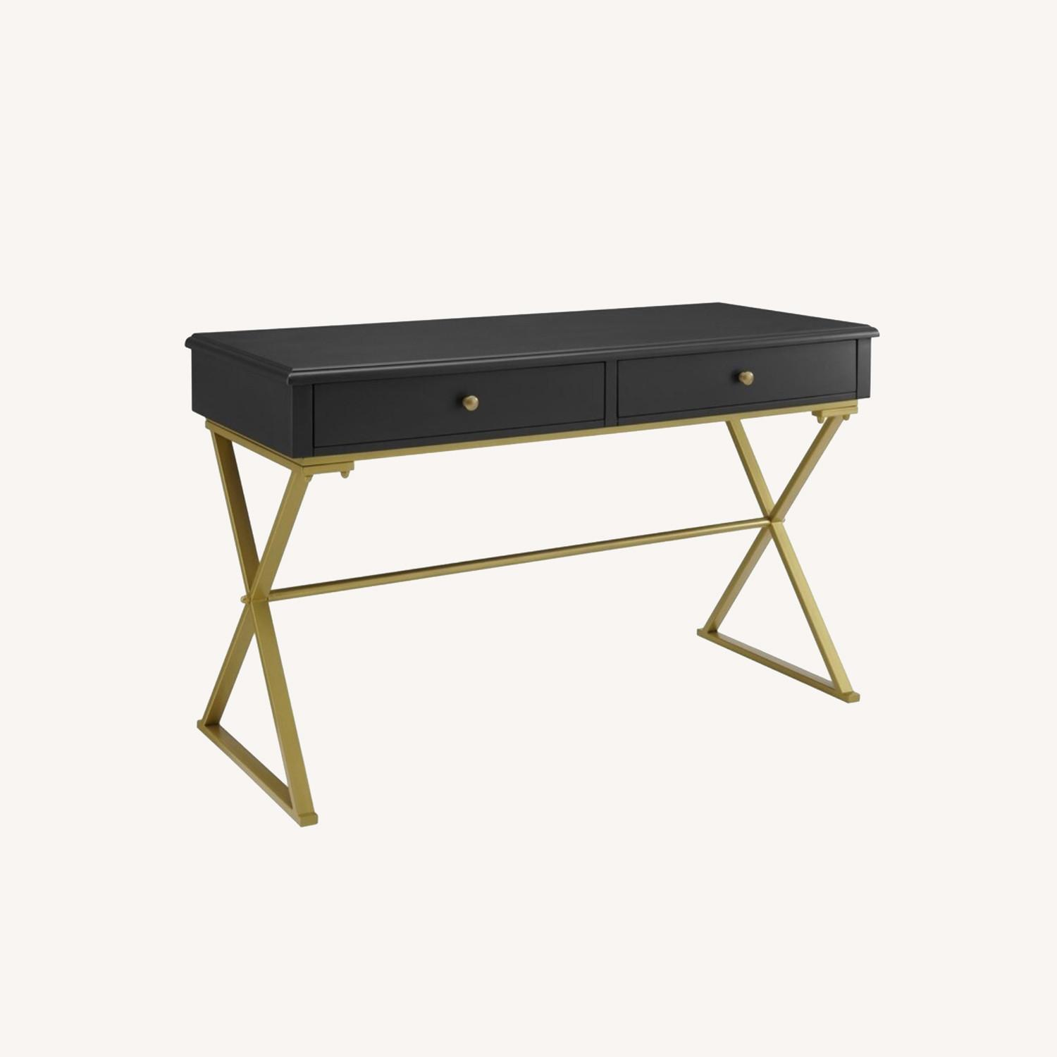 Black and Gold Campaign Style Desk - image-0