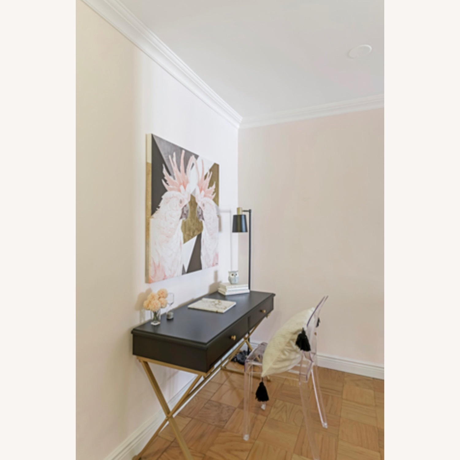 Black and Gold Campaign Style Desk - image-1