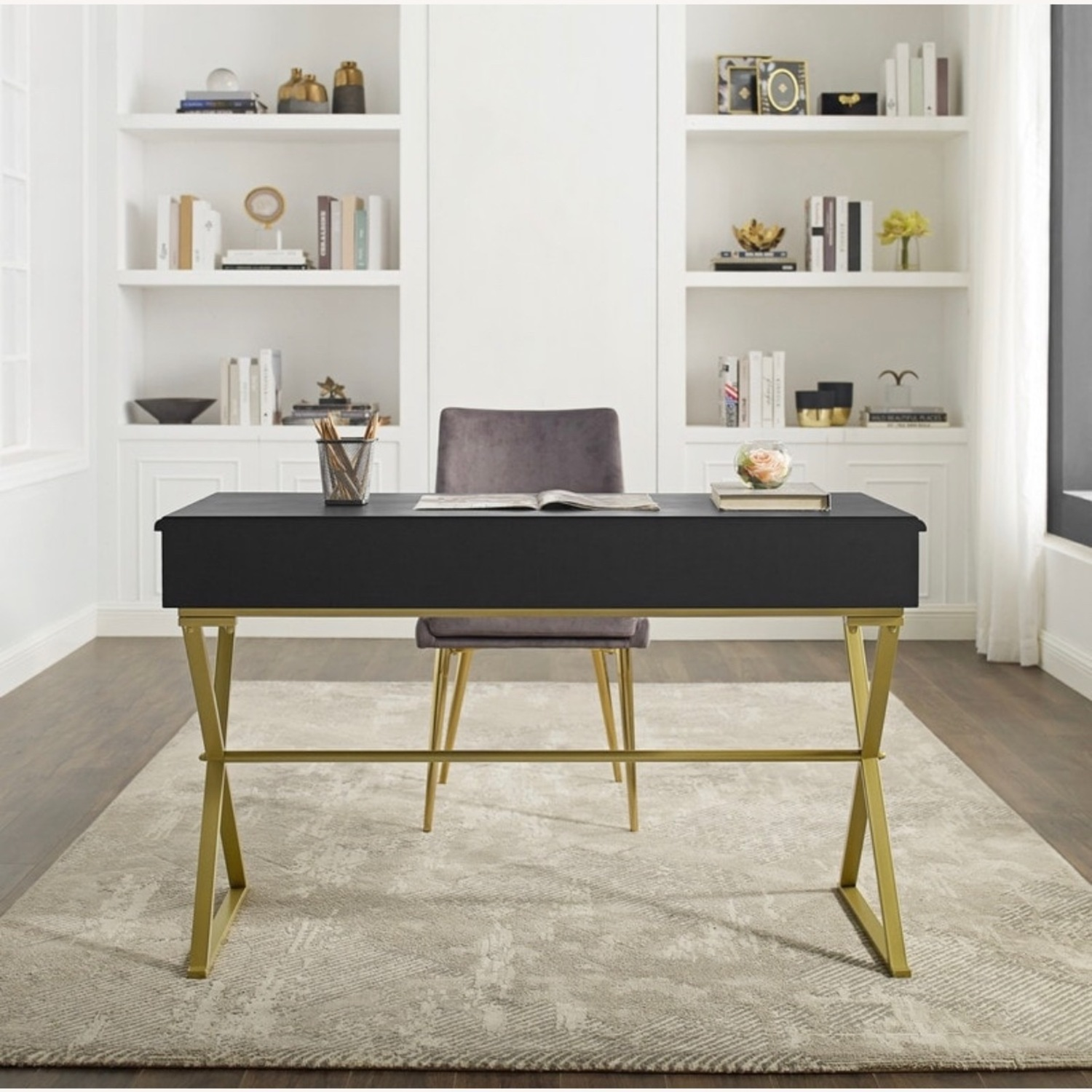 Black and Gold Campaign Style Desk - image-3