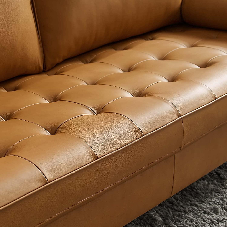 Modern Style Sofa In Tan Leather W/ Foam Padding - image-5