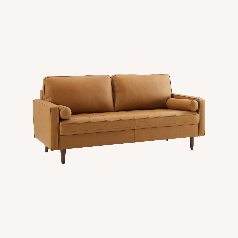Modern Style Sofa In Tan Leather W/ Foam Padding - image-8